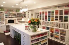 This beautiful room (also featured in our Crafted Spaces video series) features MANY Stamp-n-Storage products. Read about Keisha's studio here.