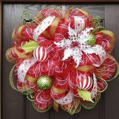 How to make a mesh wreath step by step tutorial with pictures red green white wreath