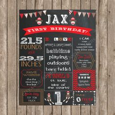 Sock Monkey Themed Birthday Printable Poster - chalkboard, sock monkey