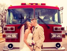 Fire truck! | Real Wedding - Felicia and Craig in West Lafayette, Ohio by Harvest of Memories | Dreamwedding