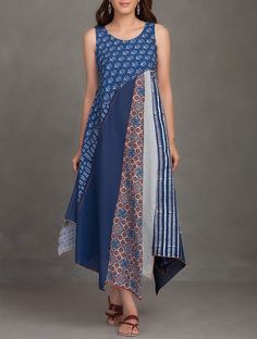 Buy online Dresses - Indigo block printed thread embroidered upcycled organic cotton dress from Jaypore
