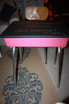 Vintage school desk I refinished for Gracie. (chalkboard paint on top)