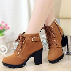 Lace-Up Chunky-Heel Ankle Boots
