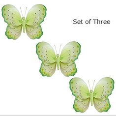Set of 3 X-Large 18' Hanging Butterfly Green White Triple Layered Nylon Butterflies Sequins Baby Nursery Bedroom Girls Room Ceiling Wall Decor Wedding Birthday Party Shower Home Playroom Decoration * New offers awaiting you  : Nursery Decor