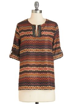 Crazy About Chevrons Top. Theres just something about the colorful chevrons on this silky blouse that has you smilin all day long! #multi #modcloth