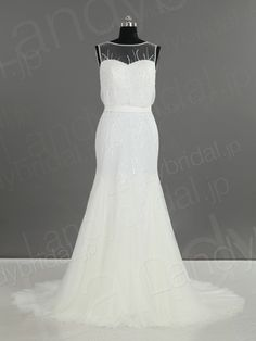 ウェディングドレス ソフトマーメイド チュール 全身スパンコール加工 キラキラ ファスナー h1rc0324