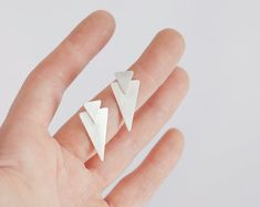Sterling silver double triangle stud earrings, a tribal and modern touch, fits with any outfit!