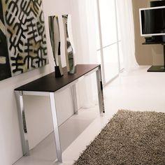 Consolle trasformabile in tavolo Voilà di Ozzio Design - piano rovere wengè, struttura cromo