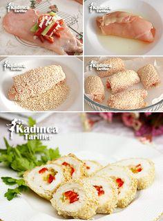 SUSAMLI TAVUK SARMA 5-6 adet inceltilmiş tavuk fileto, 2 adet kırmızı kapya biberi, 2 adet sivri biber, 250 gram taze kaşar peyniri, Tuz, Kırmızı toz biber. Üzeri için;  1 yumurta akı, Yarım su bardağı susam.