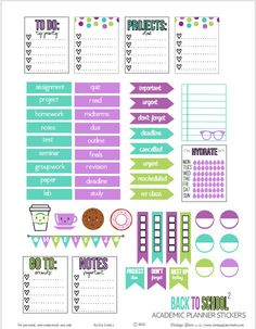 A set of academic or back to school planner stickers suitable for vertical weekly planners or other types of papercrafting. Free for personal use only.