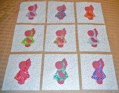 Set of 9 Applique  6 x 6  Quilt Blocks  ... by MarsyesShoppe