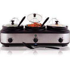 Three crockpot slow cooker/warmer. 3 types meatballs... Pepper jelly, sweet & sour, BBQ.