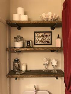Rustic bathroom shelves