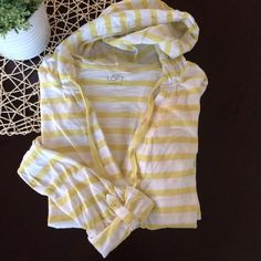 LOFT Yellow Stripe Tee Hooded, casual V-neck top from the LOFT. Full length sleeves that can be rolled and buttoned into 3/4 length. Material is yellow and white striped cotton, has slight pilling from typical wear/wash. Otherwise in very good used condition. Sz Small, fits TTS. no PayPal smoke free LOFT Tops