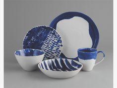 BLOT BLUE Stoneware Blue pasta bowl D22cm - HabitatUK