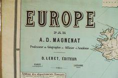 EUROPE par A. D. Magnenat; Professeur de Géographie et Officier d'Académie.; D. LEBET, ÉDITEUR; Paris 7 rue Dupuytren 7 – Lausanne (Suisse) ; ca. 1910; Sprache: fr; 206 x 152cm; Artikel-Nr. 3661
