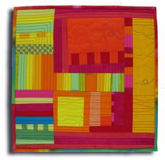 """Red Stitches    Hand dyed and commercial cottons, machine pieced, hand and machine quilted. 16"""" square"""
