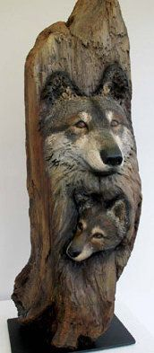 """Nancy Tuttle """"Wolf and Pup"""" 34""""- tall Redwood, Oil Paint"""