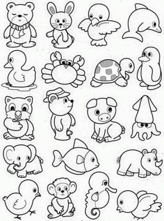 Art Drawings For Kids, Doodle Drawings, Cartoon Drawings, Doodle Art, Easy Drawings, Art For Kids, Easy Drawing For Kids, Easy Animal Drawings, Animal Coloring Pages