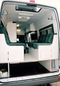 "The Sprinter's ceiling height is 72"". As shown, you can have an elevated dinette/bed with storage below. The lower storage area can be whatever height you require. The space can be open full width of the van or have compartment partitions located to your cargo needs."
