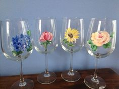 Hand Painted Wine Glass/ Rose Bud by sarahhalldesignshall on Etsy