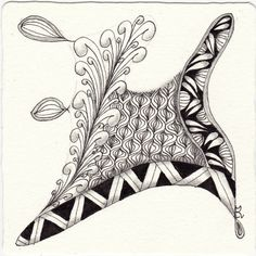 Zentangle from the patterns: Zipclurve, Hached, Lantern-Pho, Teardralops. Zentangle drawn by Ela Rieger, CZT.