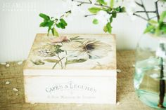 wooden paint, decoupage and transfer casket. shabby chic.