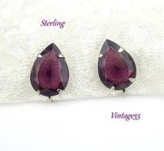 Earrings Sterling Purple Amethyst Glass Screw back by Vintage55