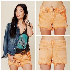 ⭐️SALE⭐️Free people cutoff short in Orange The perfect shorts for summer! Distressed so they have that worn in look. Well loved but still tons of life! Great shorts I just have too much clothes! Size 30 which is a 10. ❌NO TRADES❌ price is firm Free People Jeans
