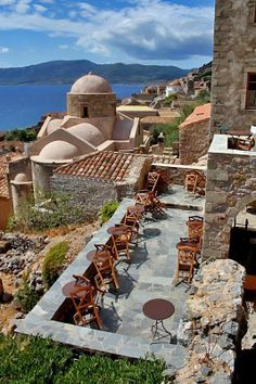 Having a nice brunch on this patio in Monemvasia, Greece would be nice I guess Places Around The World, Oh The Places You'll Go, Travel Around The World, Places To Travel, Around The Worlds, Places To Visit, Time Travel, Patras, Mykonos