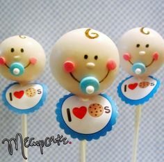 Adorable baby cake pops for babyshowers...IT'S A BOY!!! AND HE LOVES COOKIES!