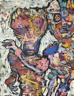 Old Queen and Courtier  (1961), Jean Dubuffet, #abstract #art