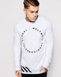 """Longline T-shirt by ASOS Soft-touch jersey Crew neck Printed design Longline cut Cut longer than standard length Machine wash 100% Cotton Our model wears a size Medium and is 185.5cm/6'1"""" tall"""