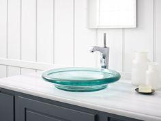 the spun glass vessel sink in translucent dew from kohler shop kohler at waschtische mit glasbehlterwaschbecken armaturenausstellungsraum - Kohler Waschbecken Armaturen