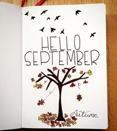 It's time to start planning our September Bullet Journal pages! From cute hedgehogs to hot air balloons there's a cover page here to inspire you! Bullet Journal Première Page, Doodle Bullet Journal, Bullet Journal September Cover, Journal D'inspiration, Autumn Bullet Journal, Bullet Journal Student, Journal Themes, Bullet Journal Spread, Bullet Journal Inspo