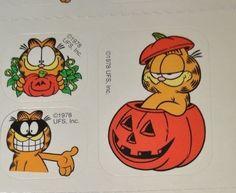 21 Garfield Cat Halloween stickers 1978 Vintage 7 modules #Unbranded
