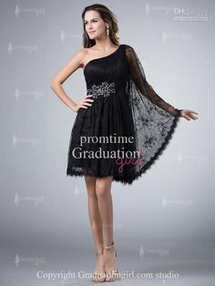 Wholesale Hot Selling Stylish One-shoulder Black Lace Sexy Short Mini Dresses 2013 Lace Graduation Dresses Cocktail Dress Homecoming Gowns GD256, $104.55/Piece   DHgate