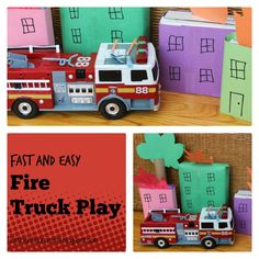 Kitchen Floor Crafts: Fast and Easy Fire Truck Play