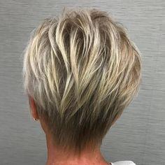 50+ Layered Blonde Balayage Pixie