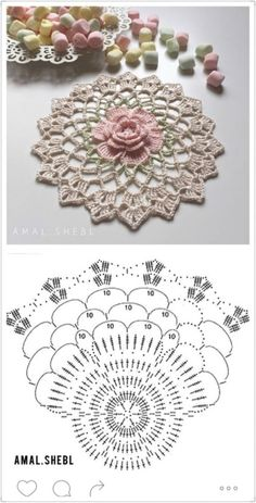 Hottest Images Crochet Doilies motif Style Although many of the doilies that you see in stores today are made from paper or machine lace there Crochet Square Patterns, Crochet Motifs, Crochet Diagram, Crochet Stitches Patterns, Crochet Chart, Crochet Squares, Thread Crochet, Crochet Mandala, Crochet Dollies