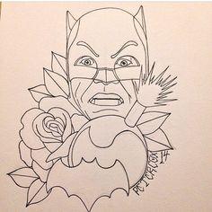 Batman sketch. Tattoo traditional style