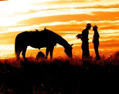 Cowboy Romance Fine Art Photography Print by WindwardGiftShop Cowboy Love, Cowboy Art, Cowboy And Cowgirl, Western Photography, Fine Art Photography, Silhouette Photography, Country Life, Country Girls, Country Style