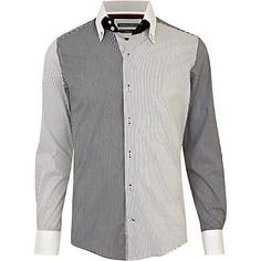grey spitalfields stripe contrast shirt - long sleeve stripe shirts - shirts - men - River Island