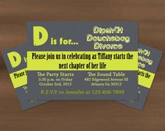 Printable divorce party invitation divorce party party d is for divorce party invitation printable by prinvitations on etsy httpswww stopboris Images