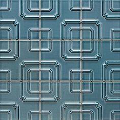 Brand: Walker Zanger / Pattern: Studio Moderne, Imperial / Colour: Ming Blue. Colour also avail in subway tile. www.worldmosaictile.com