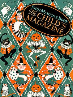 Magnificent Quilt-Like Vintage Halloween Illustration--John Martin's Magazine Cover