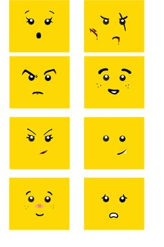 Several face expression with small differences to have a for Lego minifigure head template