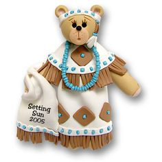 Belly Bear Indian Maiden  Personalized Christmas  Ornament