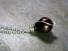 Chocolate Bliss freshwater pearl pendant  by LavenderCottage on Etsy