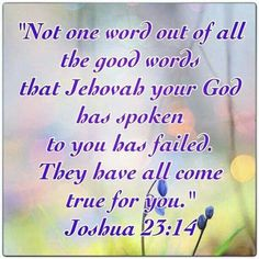 Joshua 23:14 ( Never Give Up On Jehovah God... He Is truly There to help You )